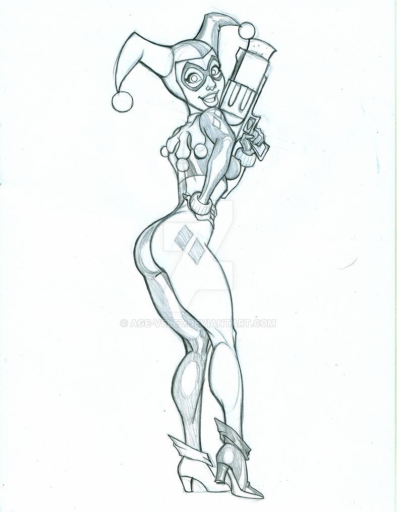 Cheeky Harley Quinn sketch by Age-Velez