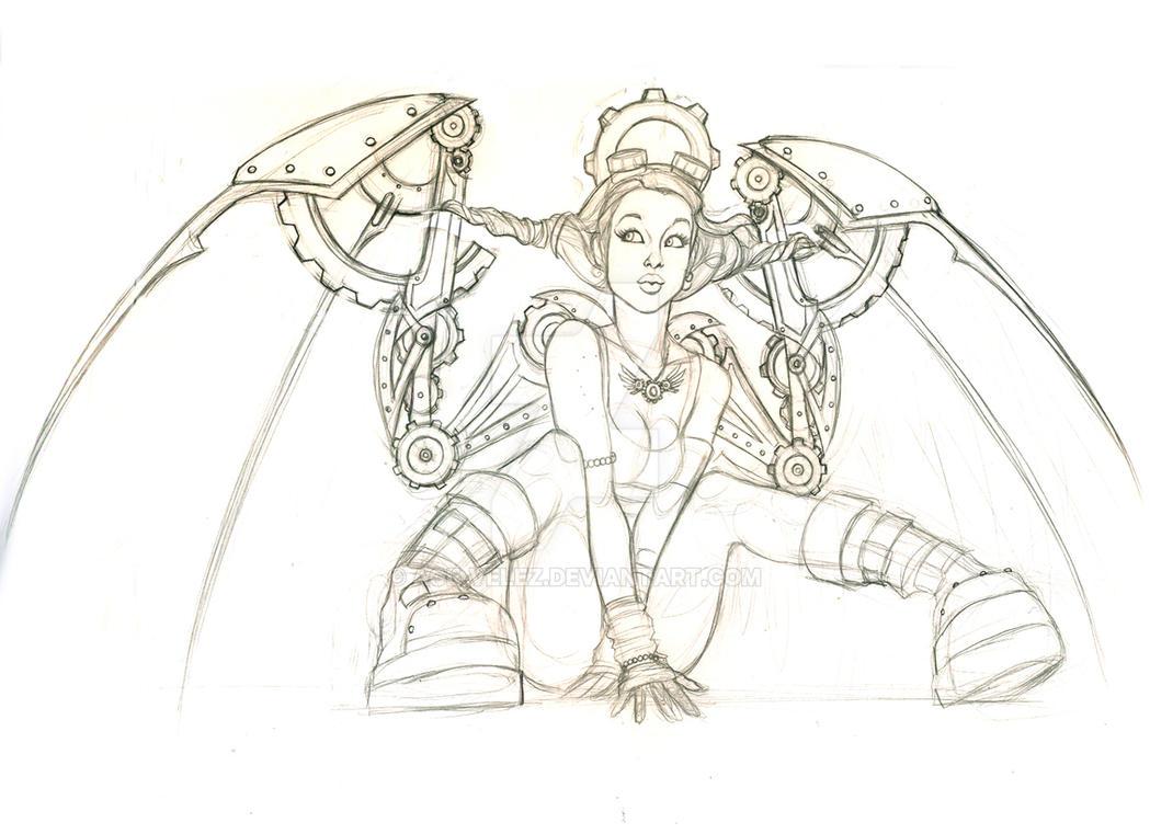 Steampunk Angel WIP by Age-Velez