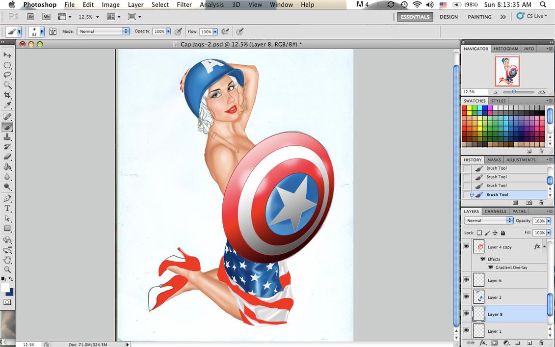 Cap America girl Pin up WIP by Age-Velez