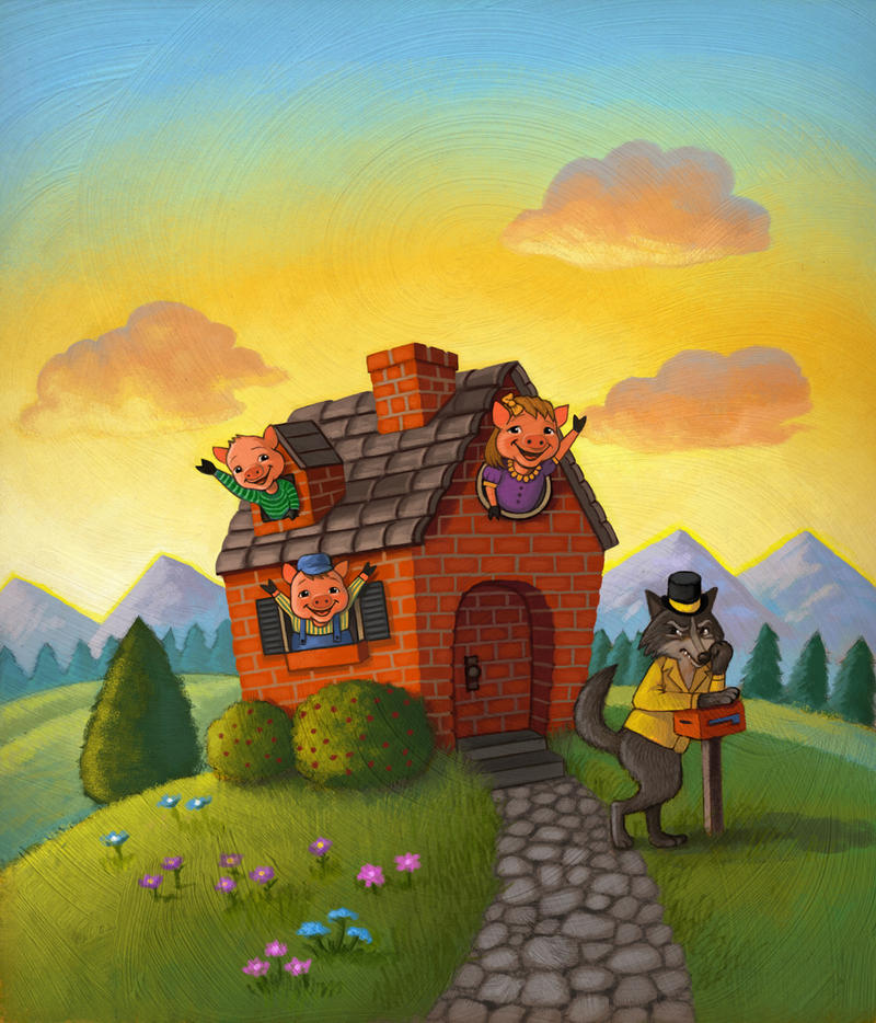 three little pigs wolf blowing brick house