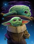 Baby Yoda Cosmic 80s Double Exposure Portrait