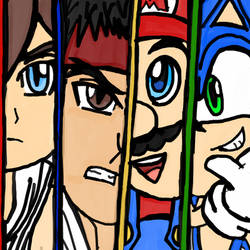 Pit, Ryu, Mario and Sonic by WhiteRose1994