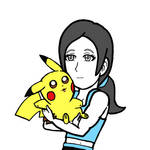 Pikachu and Wii Fit Trainer by WhiteRose1994