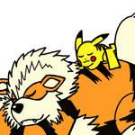 Pikachu and Arcanine
