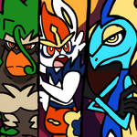 Rillaboom, Cinderace and Inteleon by WhiteRose1994