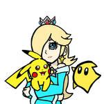 Rosalina, Luma and Pikachu by WhiteRose1994