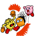 Kirby, PAC-MAN and Clyde