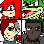 Knuckles, Vector, Scarlet and Sage