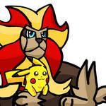 Pikachu and Pyroar by WhiteRose1994