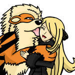 Arcanine and Cynthia by WhiteRose1994