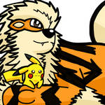 Arcanine and Pikachu by WhiteRose1994