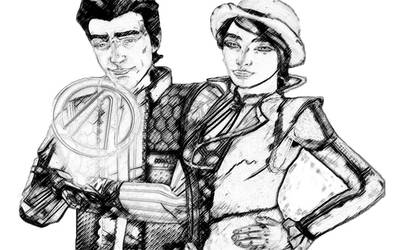 Rhys and Fiona (photoshop drawing) by TheGoldenKeyblade