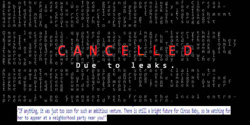 Cancelled due to leaks! (on scottgames.com)