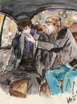 ::Tired Sherlock in cab::