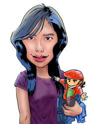 Jen Reyes and Me Caricature by Master-Majic