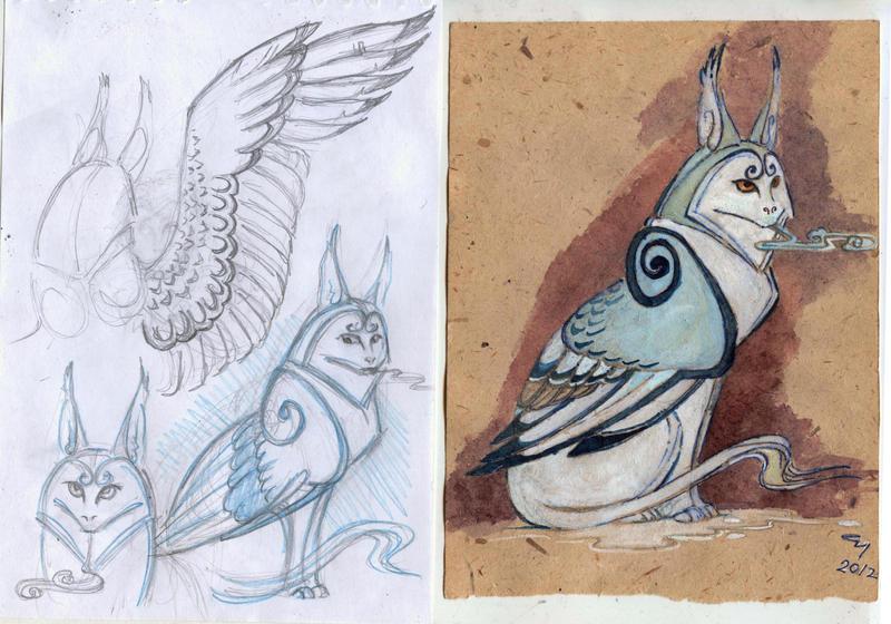 Winter dragon sketch by Unita-N