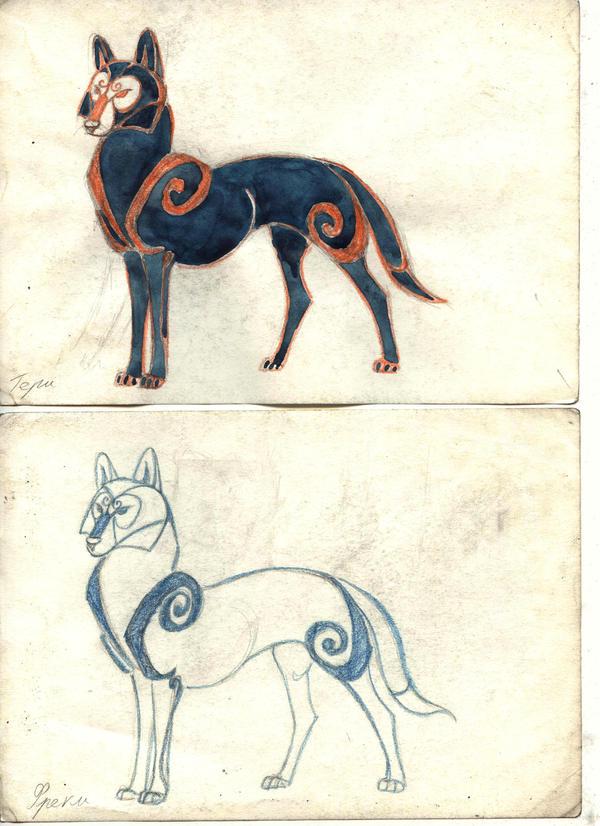 Loki child: Geri, Freki by Unita-N