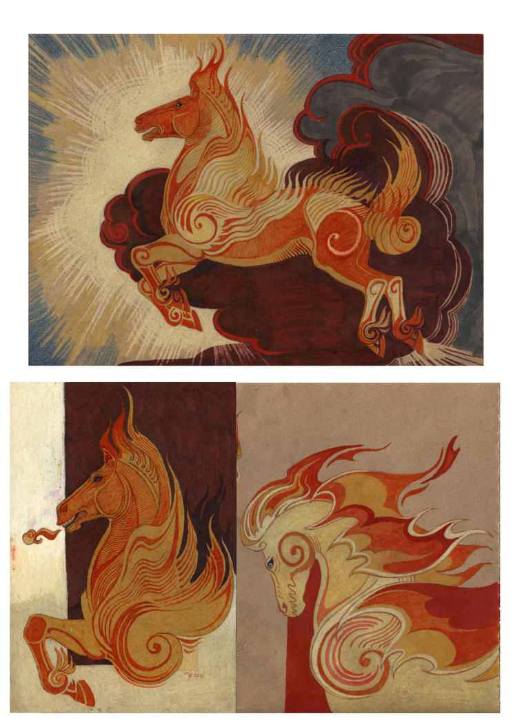 Firehorse character sketch by Unita-N