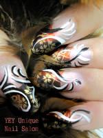 Asian print nail by YEYUniqueNail