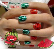 water melon nail by YEYUniqueNail