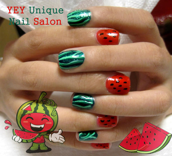 water melon nail by YEYUniqueNail