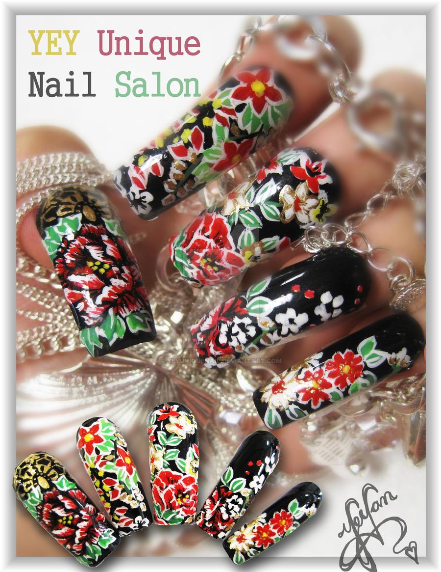 asian pattern nail by YEYUniqueNail