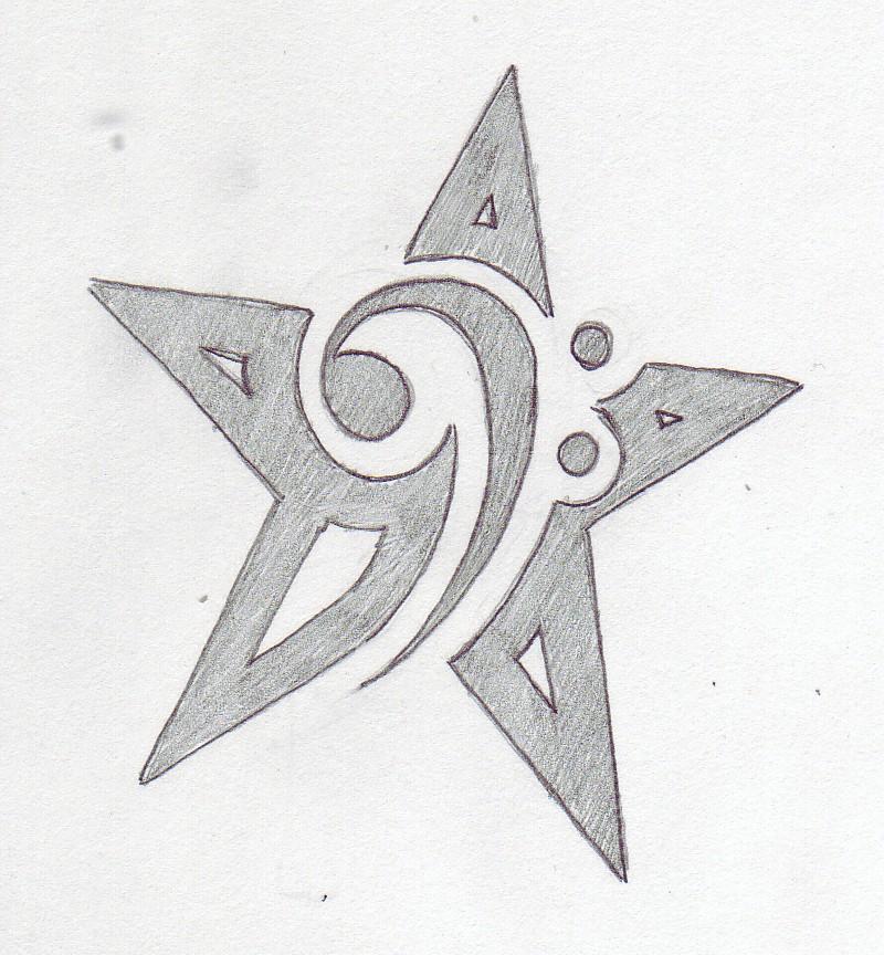 Bass Clef Star Tattoo
