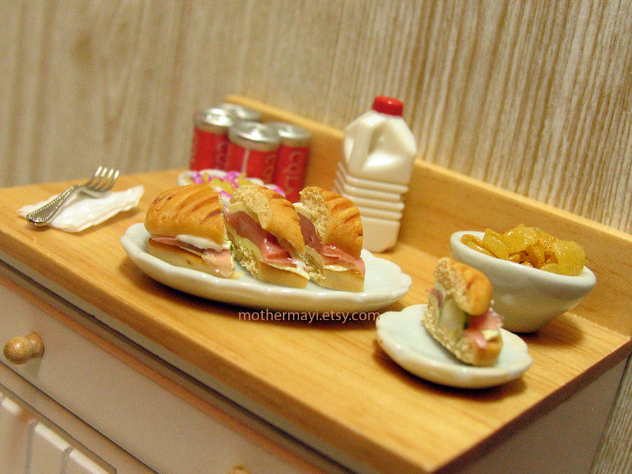 Dollhouse Food Sliced Cuban Sub by MotherMayIjewelry