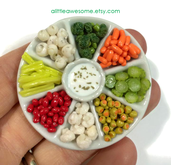 Dollhouse Miniature Veggie Platter by MotherMayIjewelry