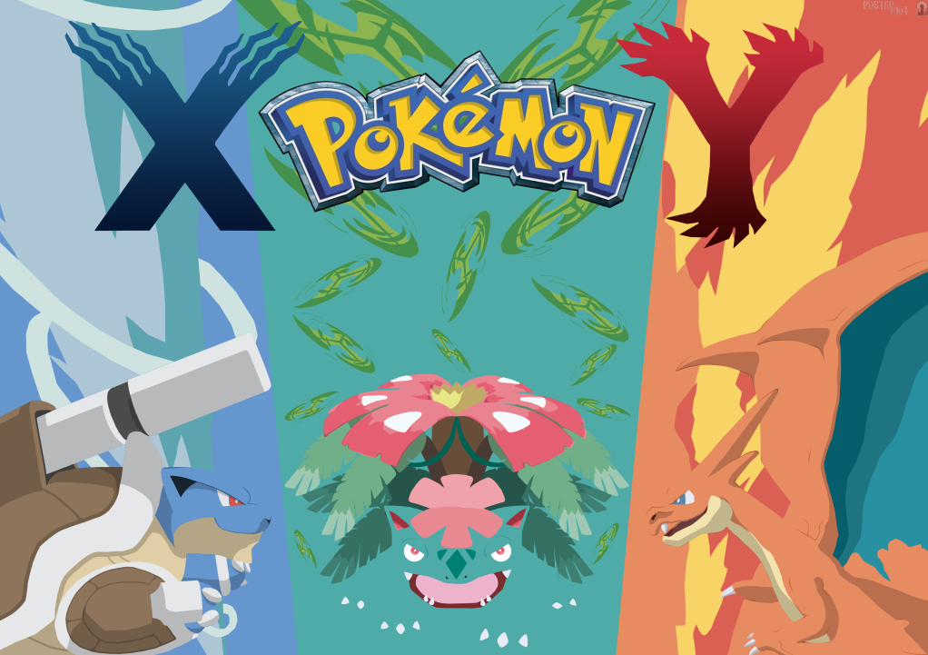 Pokemon X and Y starter mega evolution poster by ...