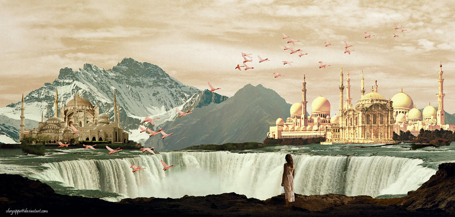 The temples over the waterfalls by Chrysippe