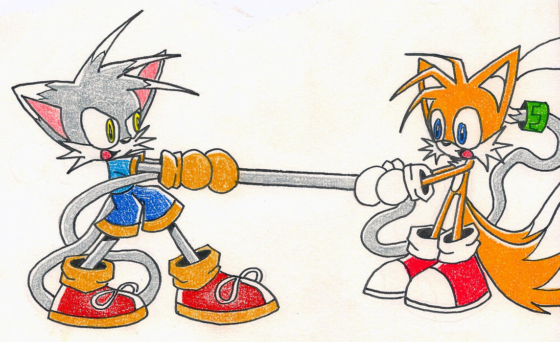 Gar and Tails : Tug of War by wisp2007