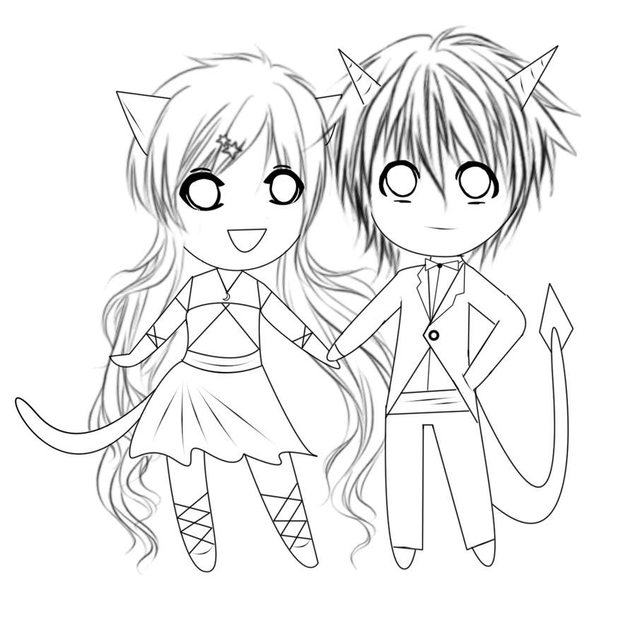 Chibi Anime Couples Coloring Pages Sketch Coloring Page