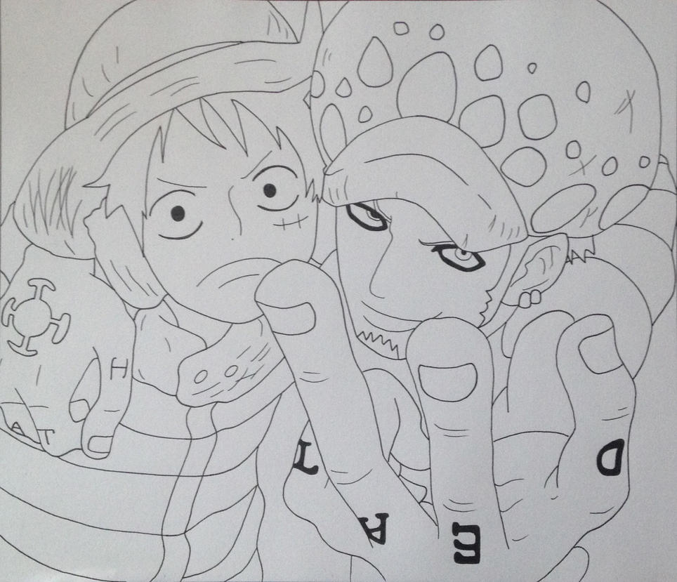 Luffy and Law (Lineart) by Yachiru-likes-candy