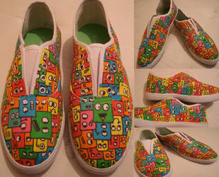 Robo cube shoes. by GeekerSneakerUK