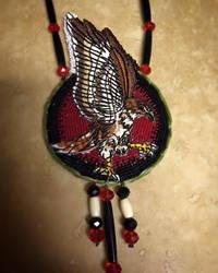 Red tailed hawk medallion by CraftyCrawford1