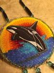 Beaded orca medallion