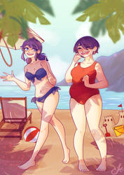 Marinette And Kagami On The Beach By Wintertundras