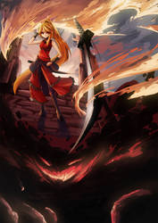 OC : Pheonix flame Swords by ClearEchoes