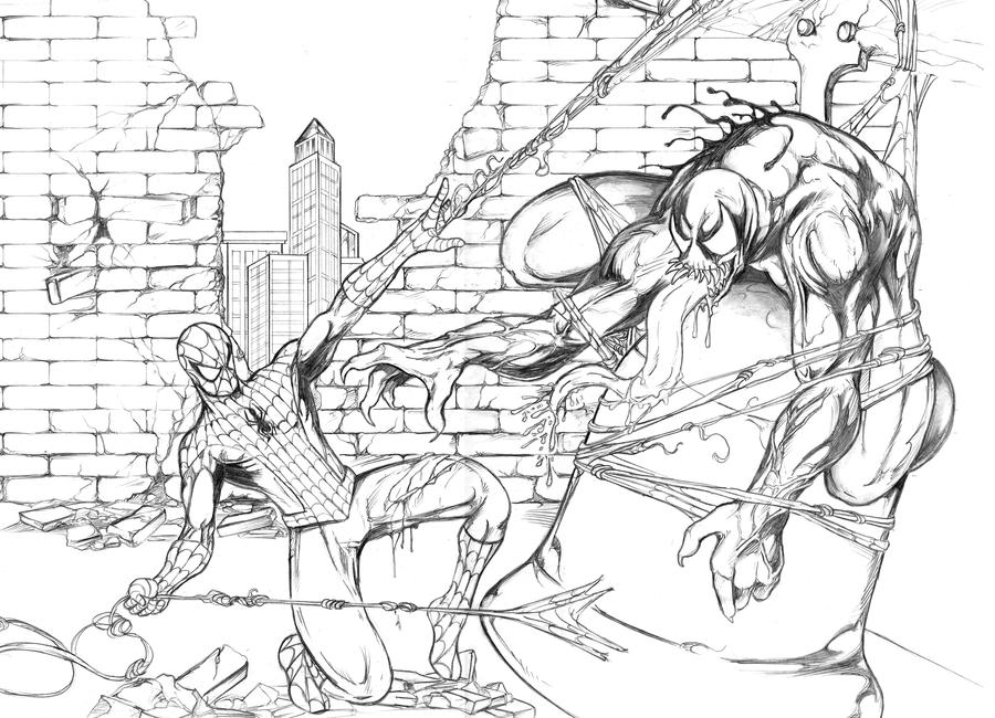 Spiderman vs venom by myskye23 on deviantart for Spiderman vs venom coloring pages