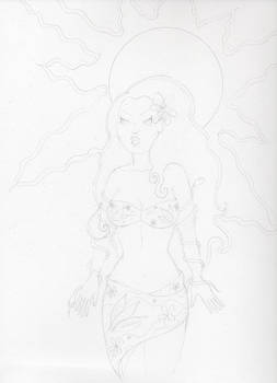 Summer Girl Pencil Unfinished