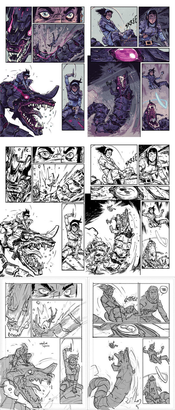 AMALAS BLADE #3 page12-13 process. by TheWoodenKing