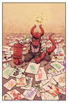 Hellboy Jr draws his future.