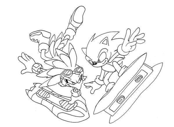 Bw Jet And Sonic By Adamis On Deviantart Sonic Riders Coloring Pages