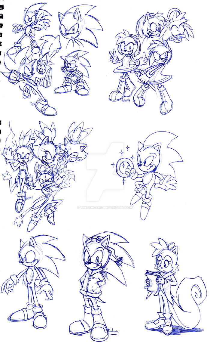 Lots of Sonic sketches by ThePandamis