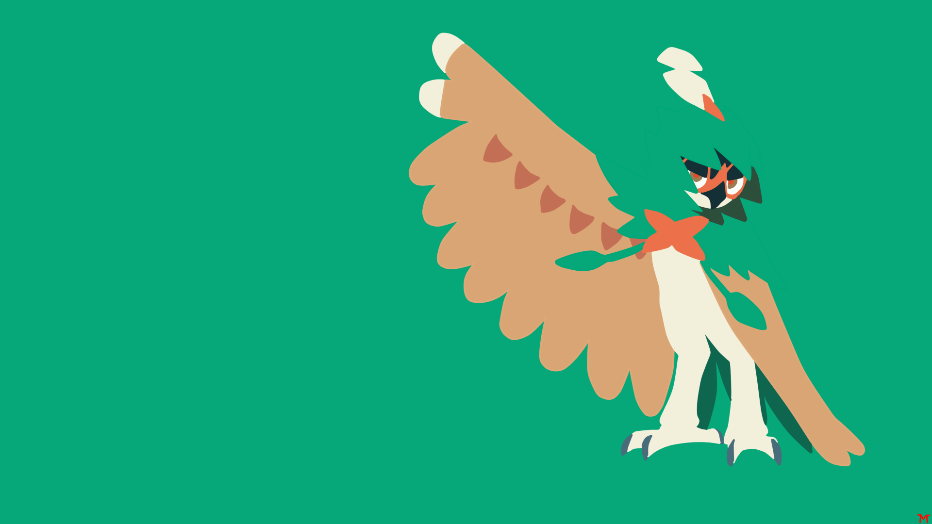 Decidueye minimalistic wallpaper by morshute on deviantart for Deviantart minimal wallpaper