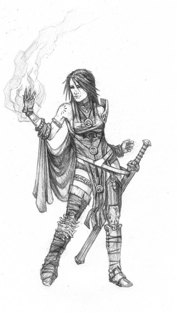 Female battle mage by Razeil753