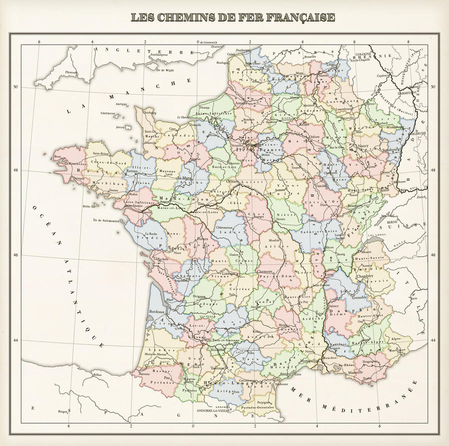 France Regions Provinces And Railways By Blomma On DeviantArt - France provinces map