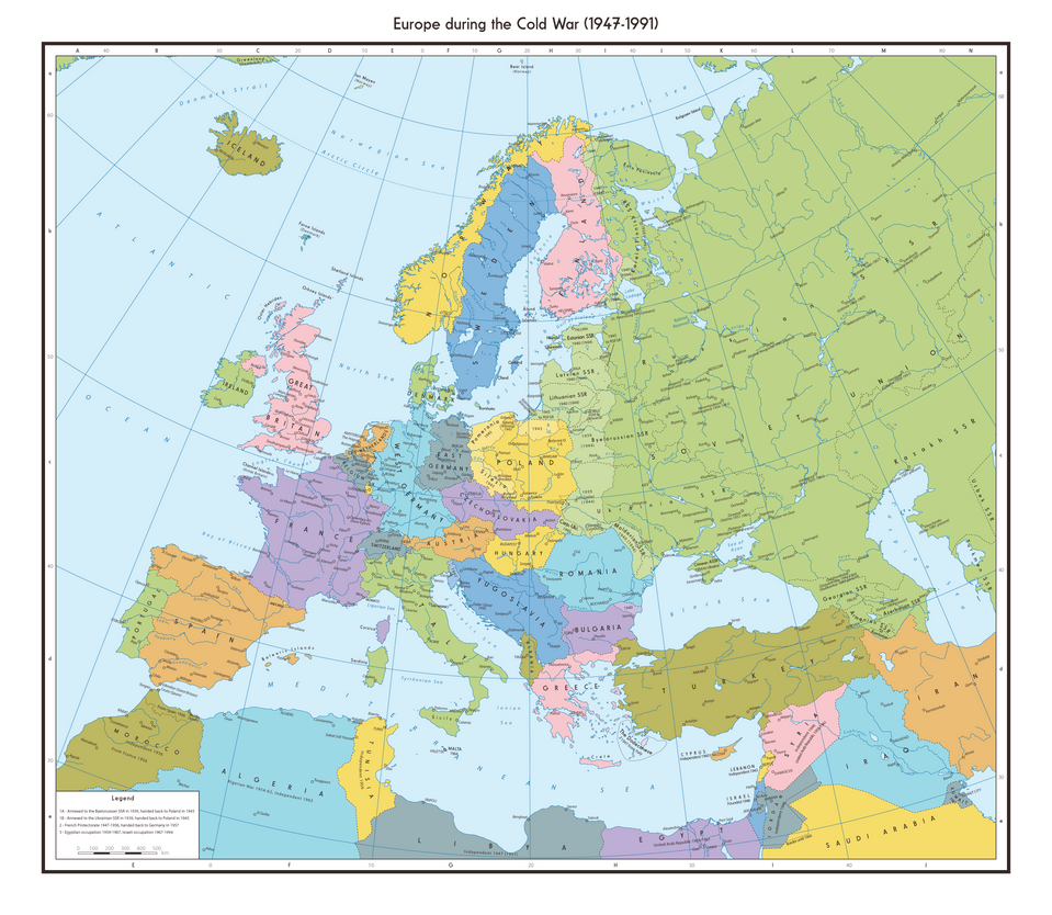 Displaying 16> Images For - Cold War Map Europe...