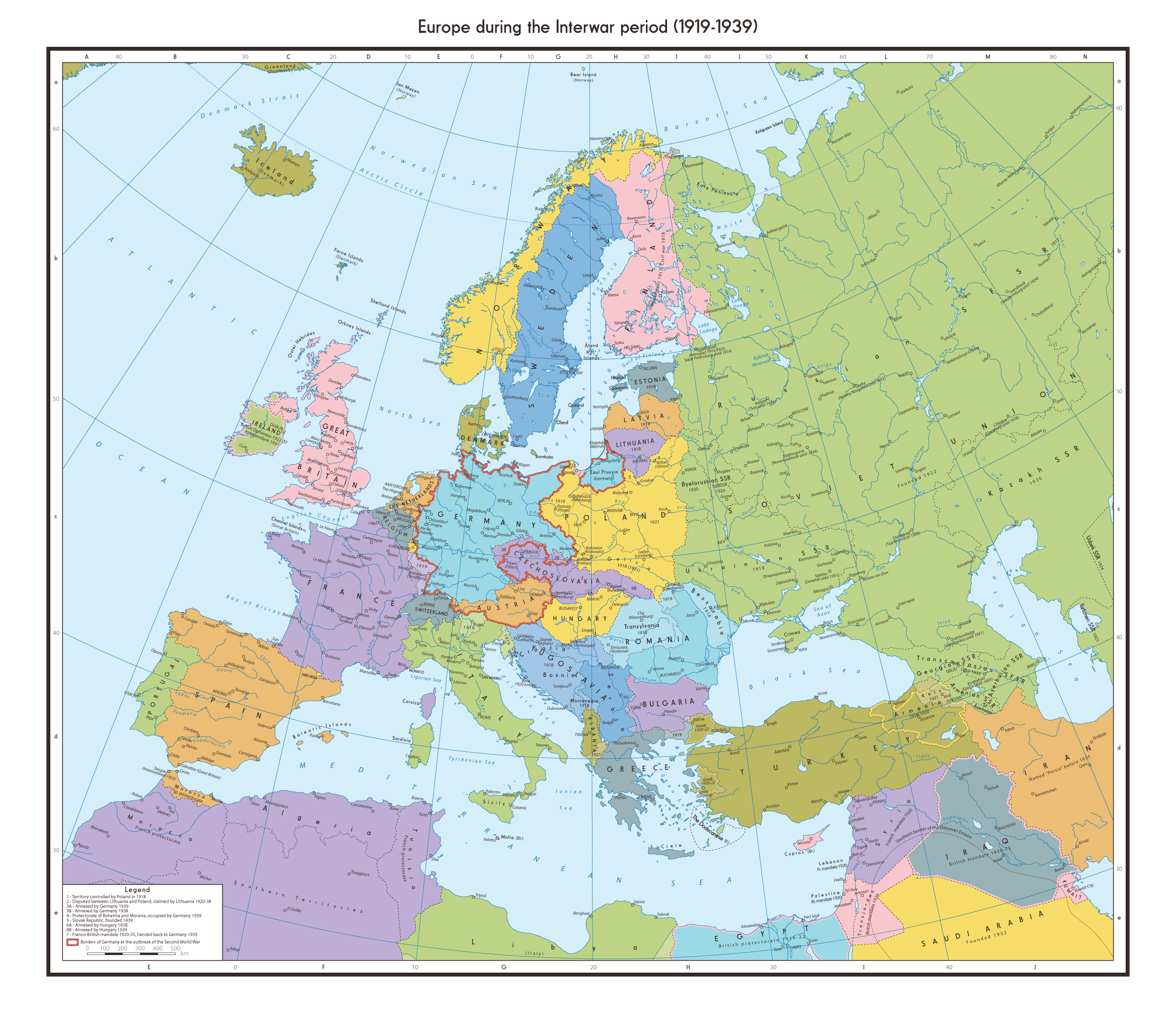 Interwar Europe Map.Europe S Shifting Borders Interwar Period 1919 1939 2336x2032
